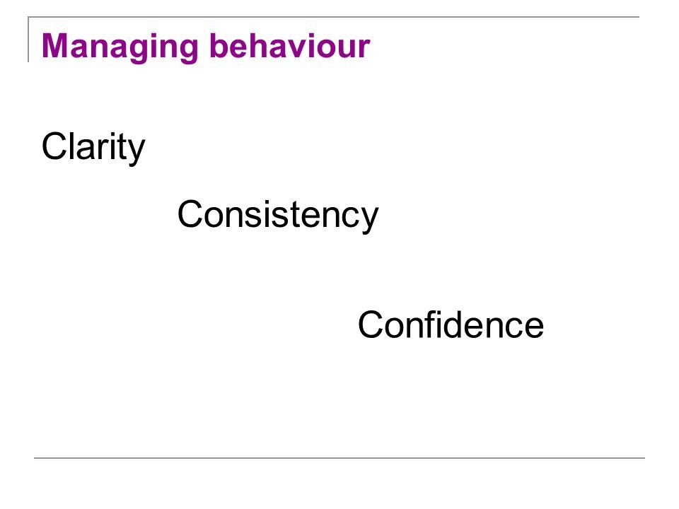 Managing behaviour Clarity Consistency Confidence
