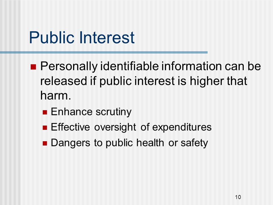 Public Interest Personally identifiable information can be released if public interest is higher that harm.
