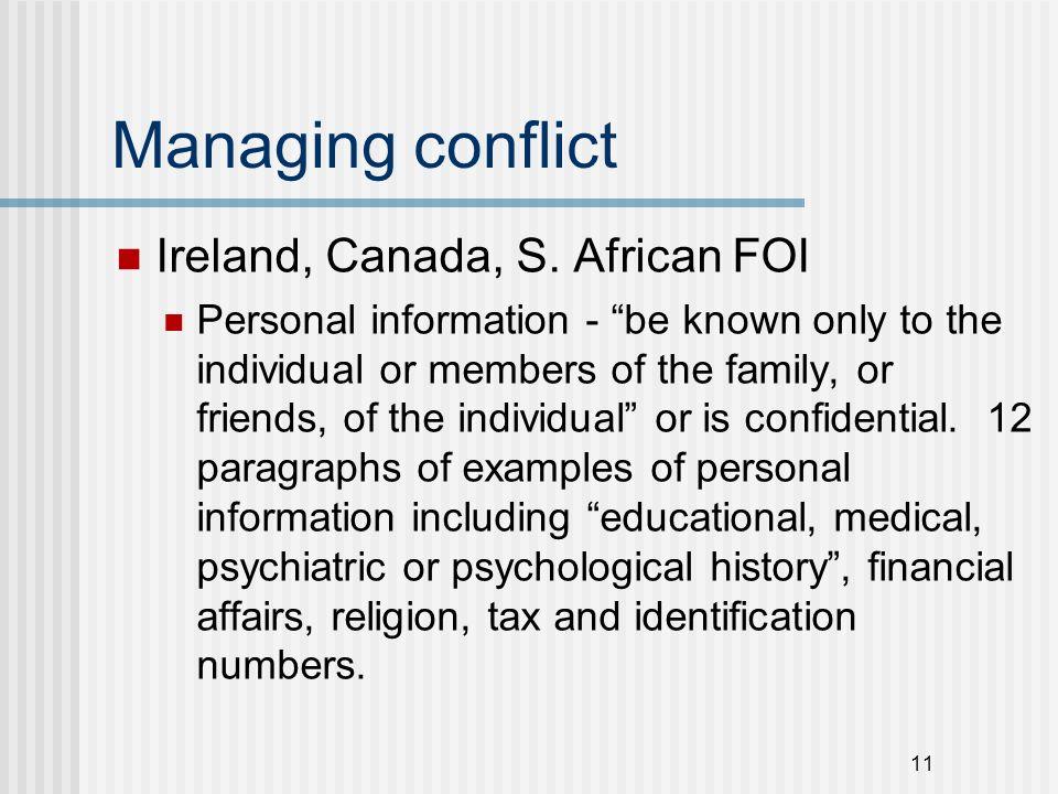 Managing conflict Ireland, Canada, S.