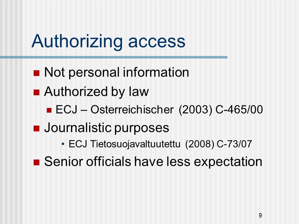 Authorizing access Not personal information Authorized by law ECJ – Osterreichischer (2003) C-465/00 Journalistic purposes ECJ Tietosuojavaltuutettu (2008) C-73/07 Senior officials have less expectation 9