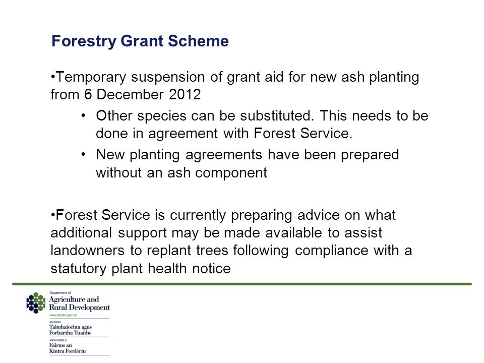 Forestry Grant Scheme Temporary suspension of grant aid for new ash planting from 6 December 2012 Other species can be substituted. This needs to be d