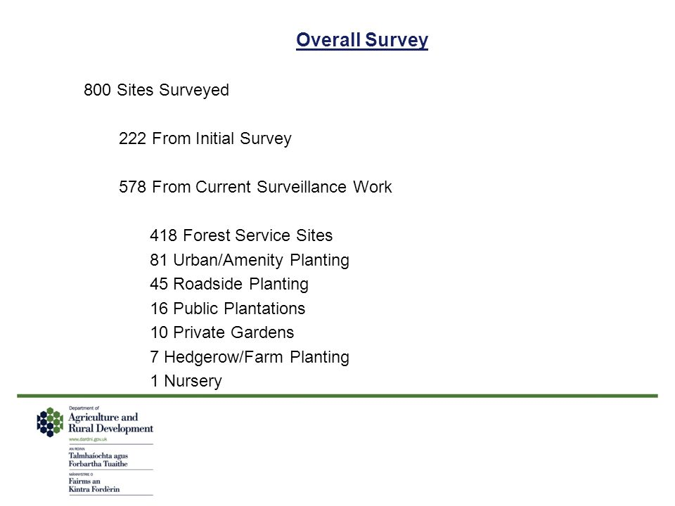 Overall Survey 800 Sites Surveyed 222 From Initial Survey 578 From Current Surveillance Work 418 Forest Service Sites 81 Urban/Amenity Planting 45 Roa