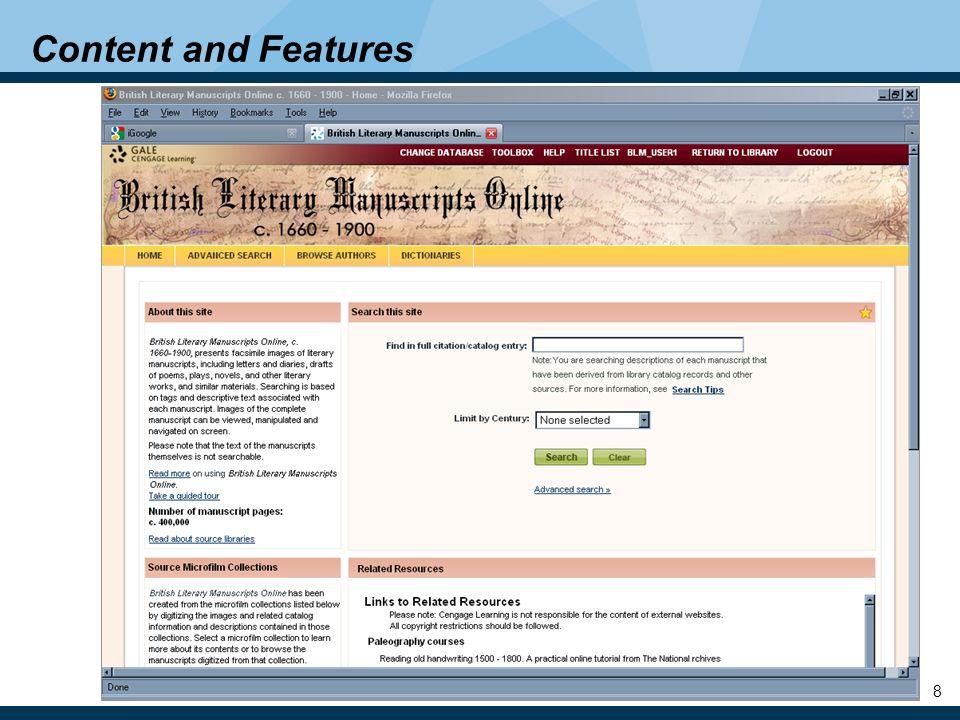 9 1st step: British Literary Manuscripts Online, c.