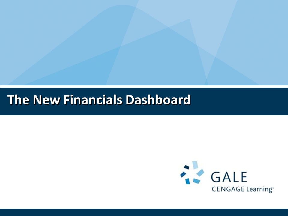 The New Financials Dashboard