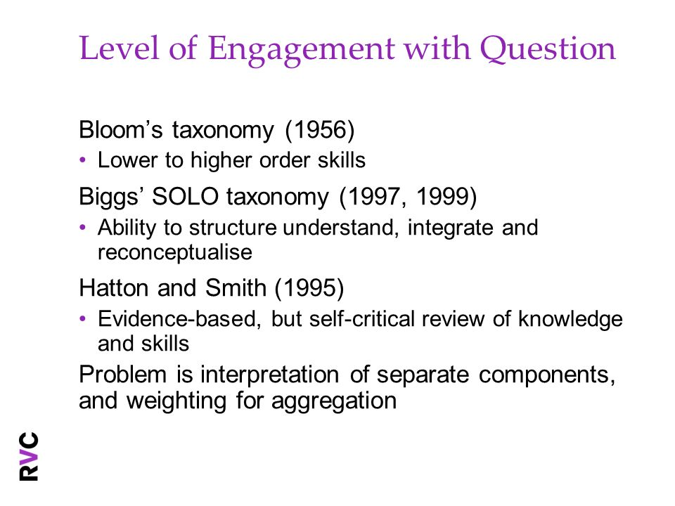 Level of Engagement with Question Blooms taxonomy (1956) Lower to higher order skills Biggs SOLO taxonomy (1997, 1999) Ability to structure understand, integrate and reconceptualise Hatton and Smith (1995) Evidence-based, but self-critical review of knowledge and skills Problem is interpretation of separate components, and weighting for aggregation