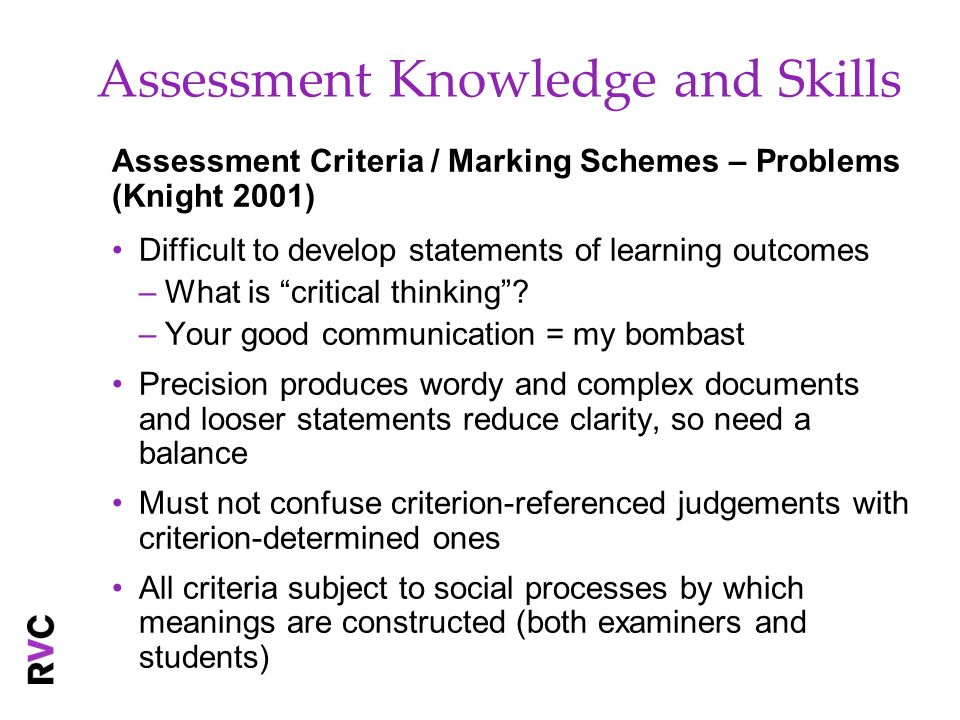 Assessment Knowledge and Skills Assessment Criteria / Marking Schemes – Problems (Knight 2001) Difficult to develop statements of learning outcomes –W