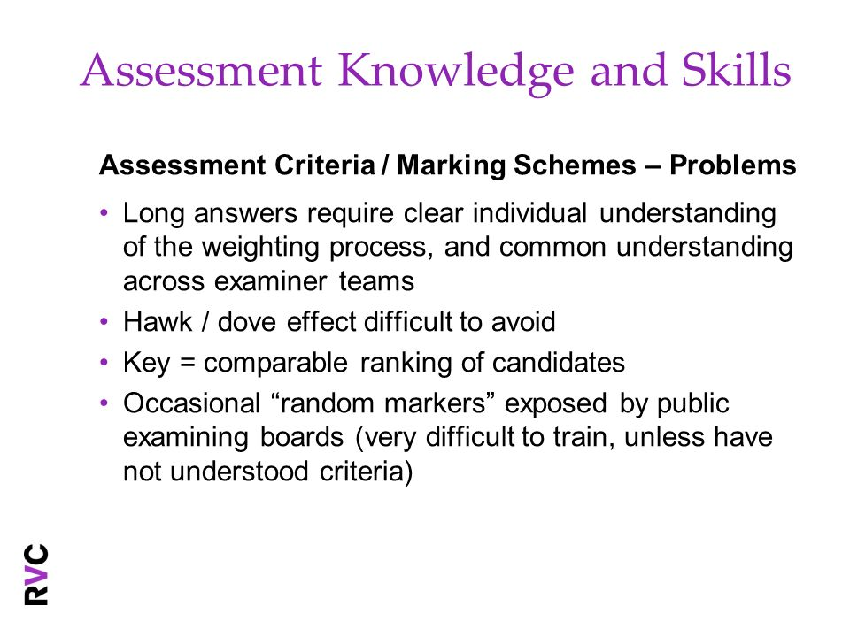 Assessment Knowledge and Skills Assessment Criteria / Marking Schemes – Problems Long answers require clear individual understanding of the weighting process, and common understanding across examiner teams Hawk / dove effect difficult to avoid Key = comparable ranking of candidates Occasional random markers exposed by public examining boards (very difficult to train, unless have not understood criteria)
