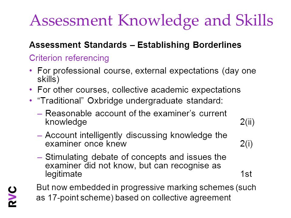 Assessment Knowledge and Skills Assessment Standards – Establishing Borderlines Criterion referencing For professional course, external expectations (