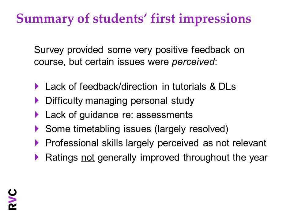 Summary of students first impressions Lack of feedback/direction in tutorials & DLs Difficulty managing personal study Lack of guidance re: assessments Some timetabling issues (largely resolved) Professional skills largely perceived as not relevant Ratings not generally improved throughout the year Survey provided some very positive feedback on course, but certain issues were perceived: