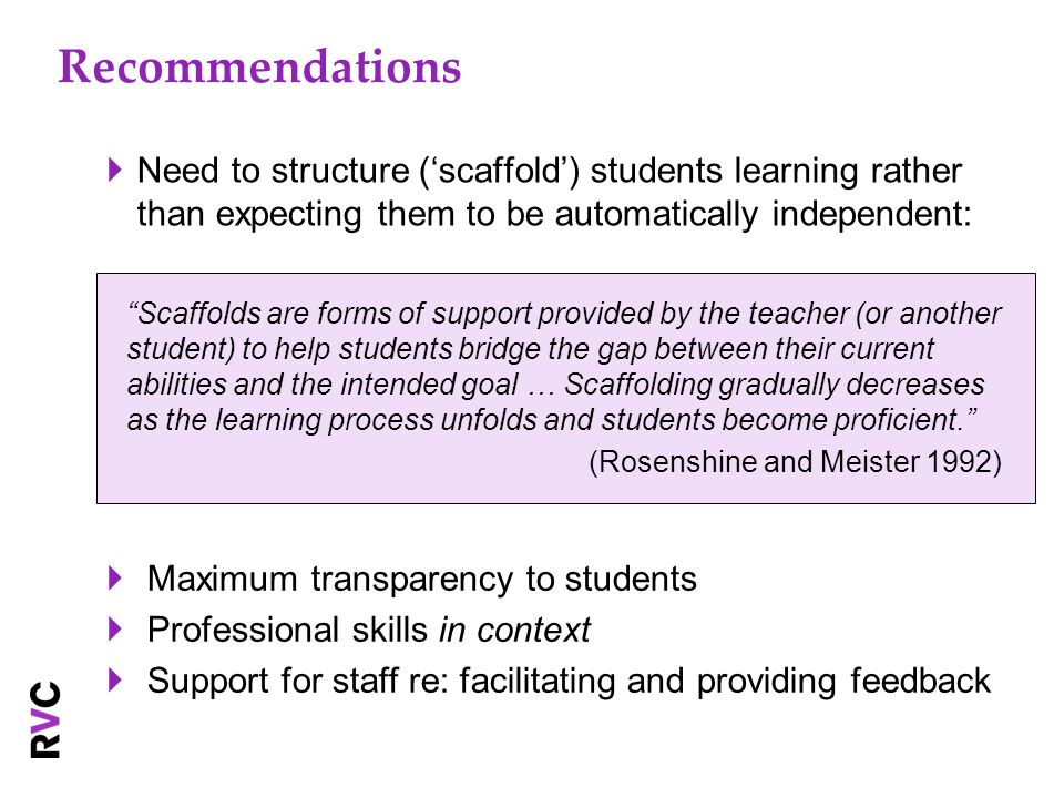 Recommendations Need to structure (scaffold) students learning rather than expecting them to be automatically independent: Scaffolds are forms of supp