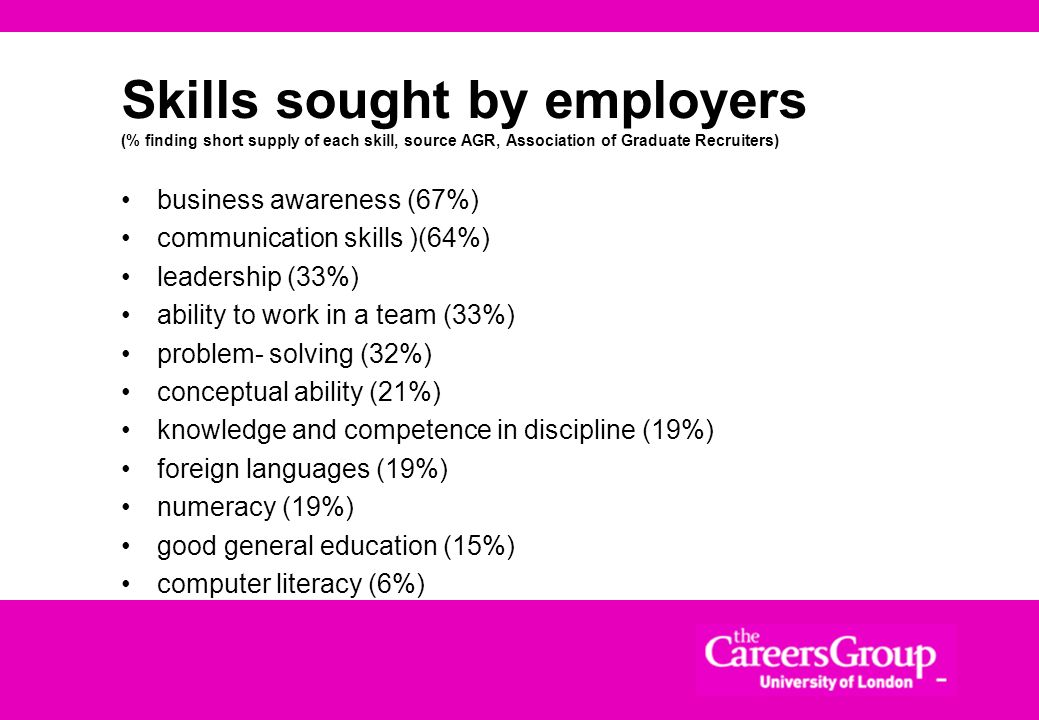 Skills sought by employers Commerciality - understanding of the business world, commercial aims and objectives Loyalty - give as good as you get. Resi