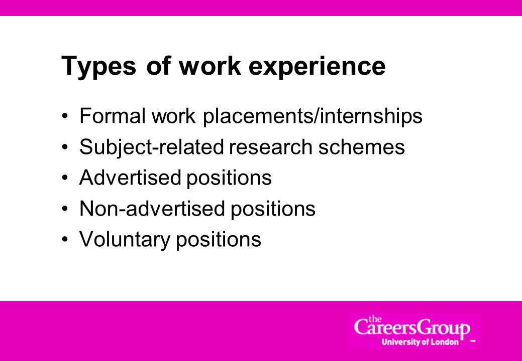 Why Money Experience (including voluntary) Insight into careers, employers and industries May be directly relevant to future jobs Could make useful co