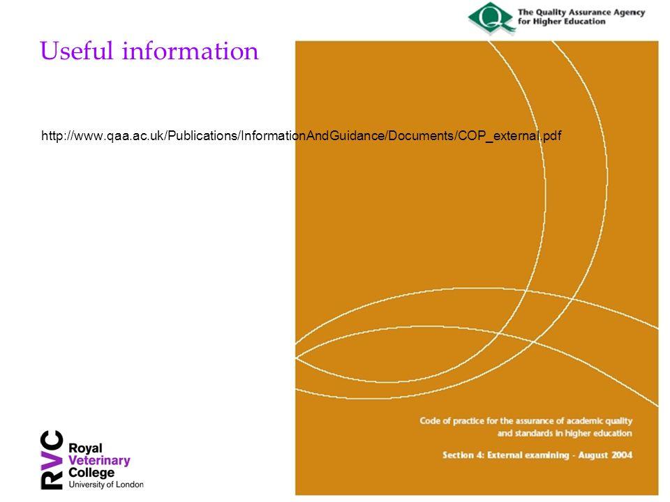 Useful information http://www.qaa.ac.uk/Publications/InformationAndGuidance/Documents/COP_external.pdf
