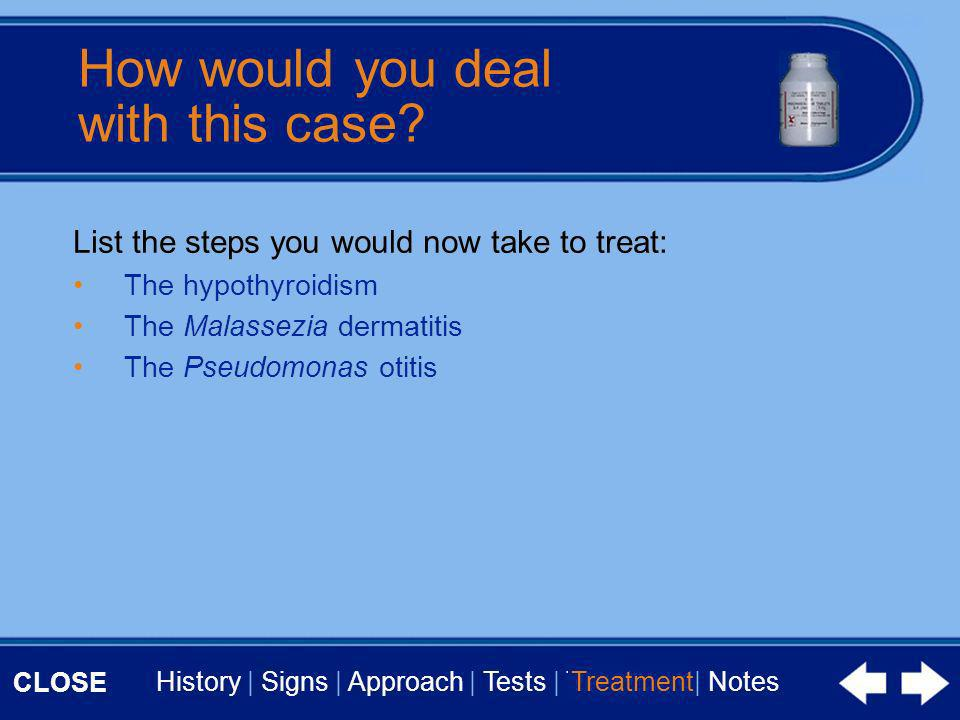CLOSE History | Signs | Approach | Tests | Treatment | Notes How would you deal with this case? List the steps you would now take to treat: The hypoth
