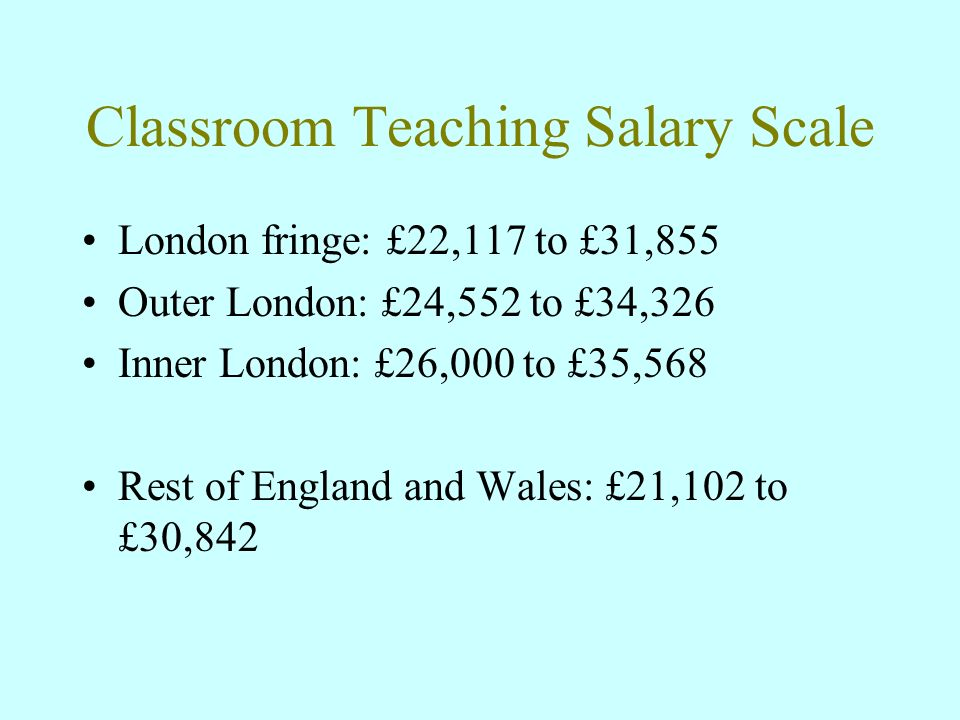 Classroom Teaching Salary Scale London fringe: £22,117 to £31,855 Outer London: £24,552 to £34,326 Inner London: £26,000 to £35,568 Rest of England and Wales: £21,102 to £30,842