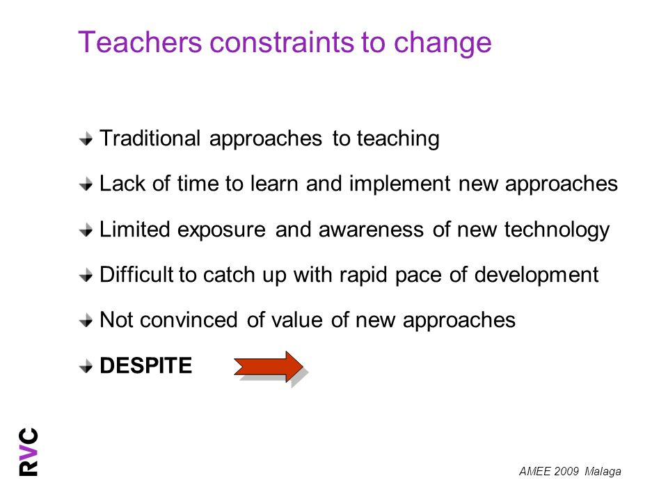 Teachers constraints to change Traditional approaches to teaching Lack of time to learn and implement new approaches Limited exposure and awareness of new technology Difficult to catch up with rapid pace of development Not convinced of value of new approaches DESPITE
