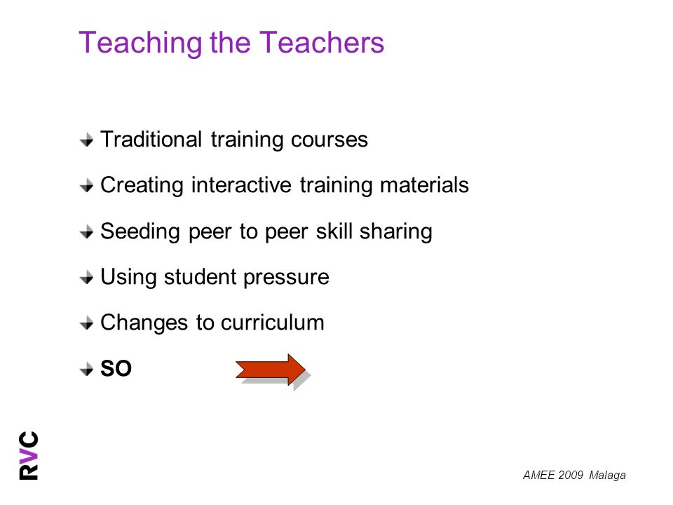 AMEE 2009 Malaga Teaching the Teachers Traditional training courses Creating interactive training materials Seeding peer to peer skill sharing Using student pressure Changes to curriculum SO