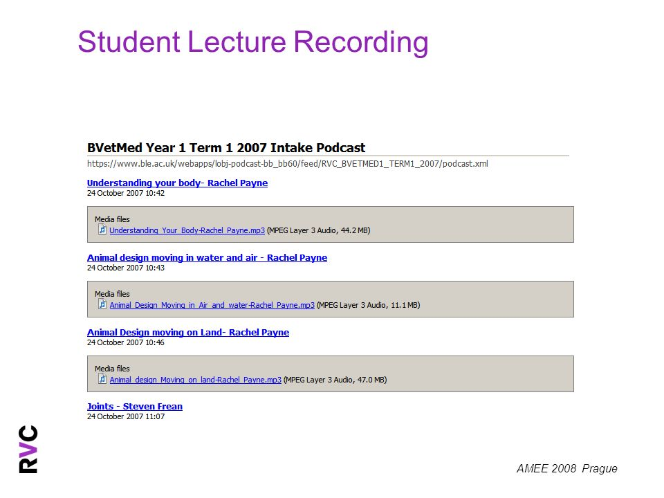 AMEE 2008 Prague Student Lecture Recording