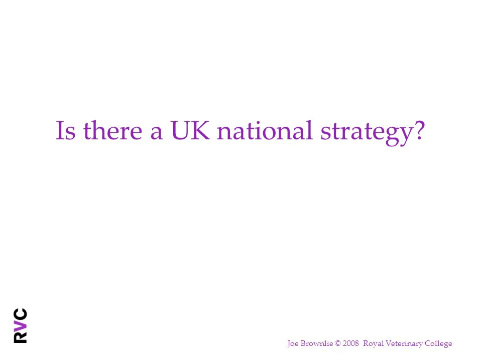 Is there a UK national strategy? Joe Brownlie © 2008 Royal Veterinary College