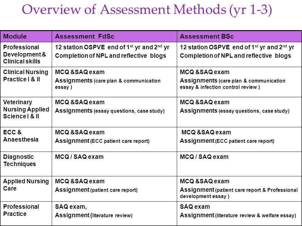 Overview of Assessment Methods (yr 1-3) ModuleAssessment FdScAssessment BSc Professional Development & Clinical skills 12 station OSPVE end of 1 st yr