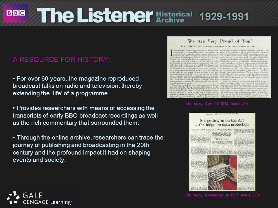 A RESOURCE FOR HISTORY: For over 60 years, the magazine reproduced broadcast talks on radio and television, thereby extending the life of a programme.