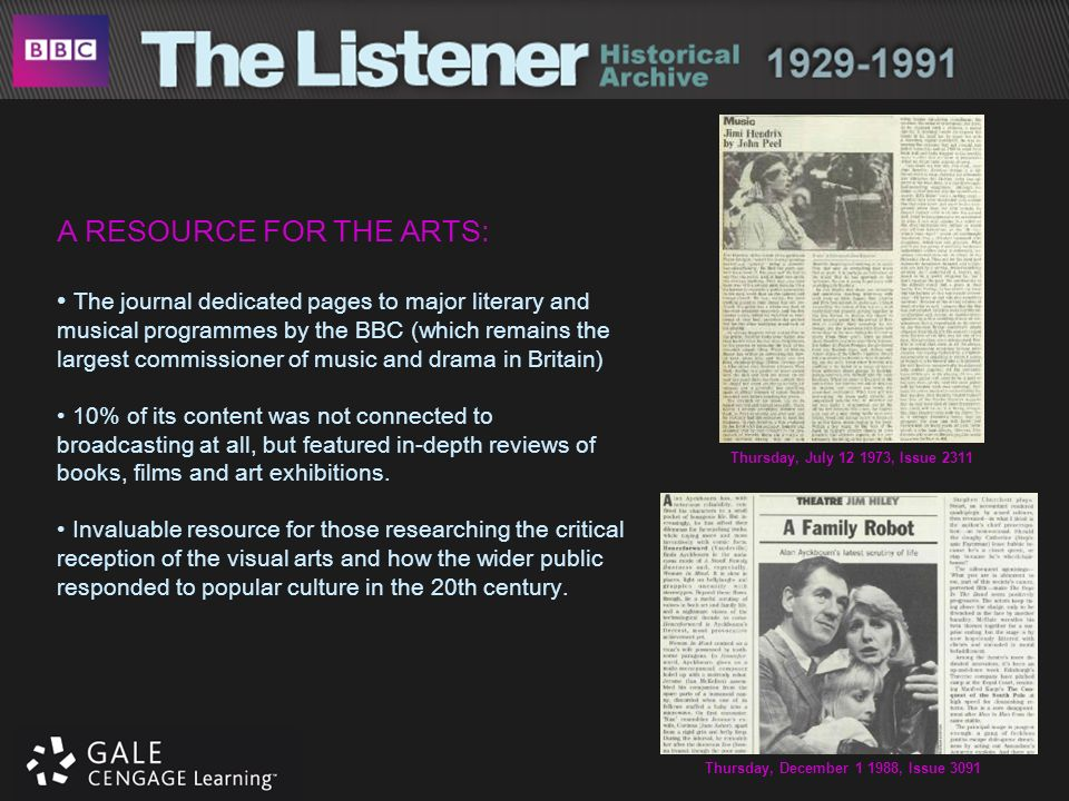 A RESOURCE FOR THE ARTS: The journal dedicated pages to major literary and musical programmes by the BBC (which remains the largest commissioner of mu