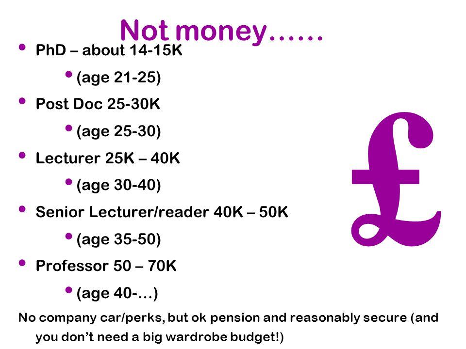 Not money…… PhD – about 14-15K (age 21-25) Post Doc 25-30K (age 25-30) Lecturer 25K – 40K (age 30-40) Senior Lecturer/reader 40K – 50K (age 35-50) Pro