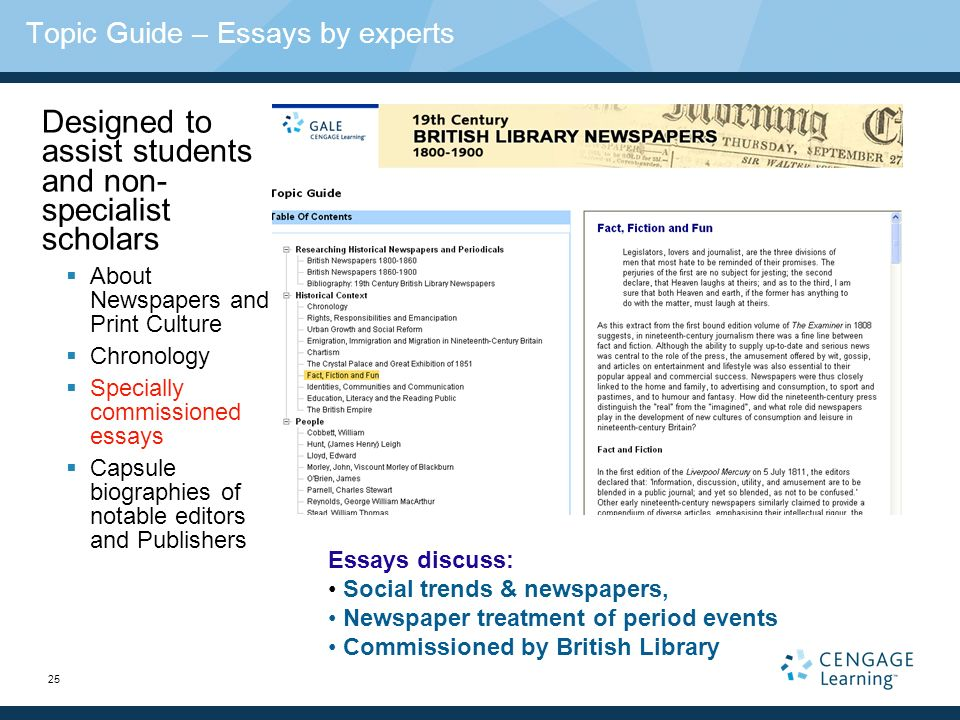 25 Topic Guide – Essays by experts Designed to assist students and non- specialist scholars About Newspapers and Print Culture Chronology Specially commissioned essays Capsule biographies of notable editors and Publishers Essays discuss: Social trends & newspapers, Newspaper treatment of period events Commissioned by British Library