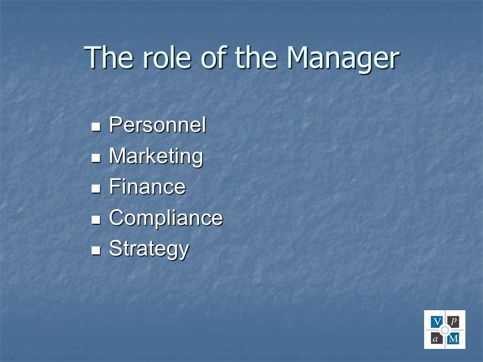 The role of the Manager Personnel Personnel Marketing Marketing Finance Finance Compliance Compliance Strategy Strategy