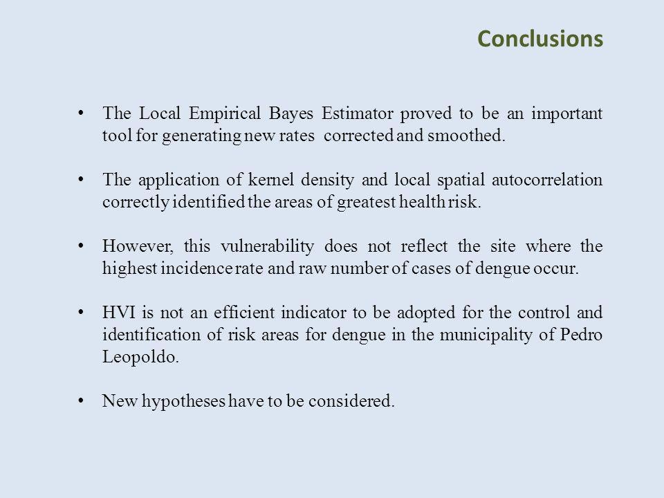 Conclusions The Local Empirical Bayes Estimator proved to be an important tool for generating new rates corrected and smoothed. The application of ker
