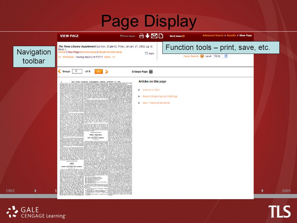 Page Display Function tools – print, save, etc. Navigation toolbar