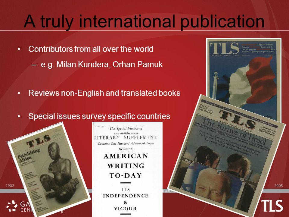 A truly international publication Contributors from all over the world –e.g.