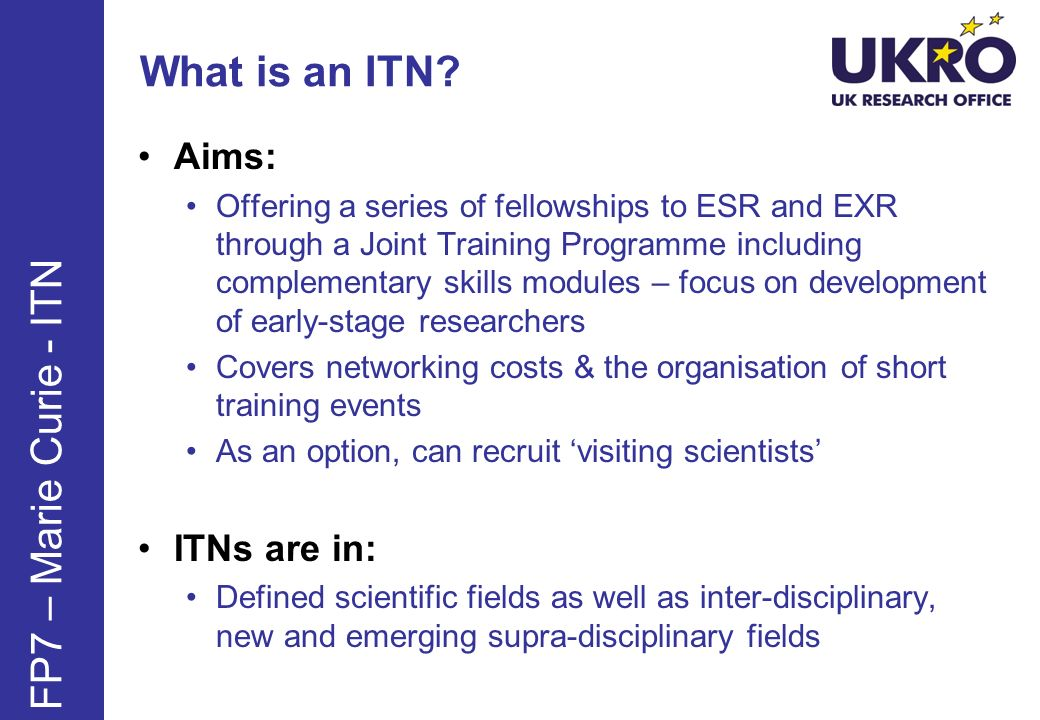 Who can participate in an ITN.