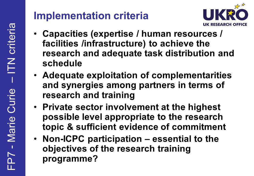Implementation criteria Networking and dissemination of best practice among partners.