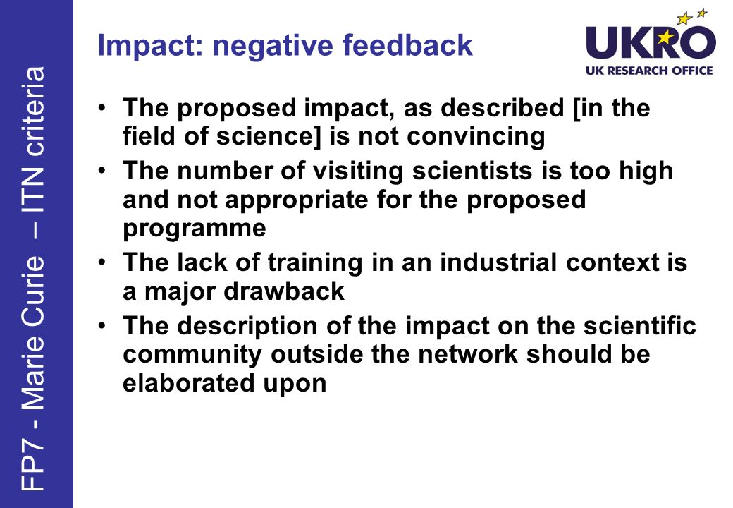 Impact: tips Think about impact on different levels, e.g.