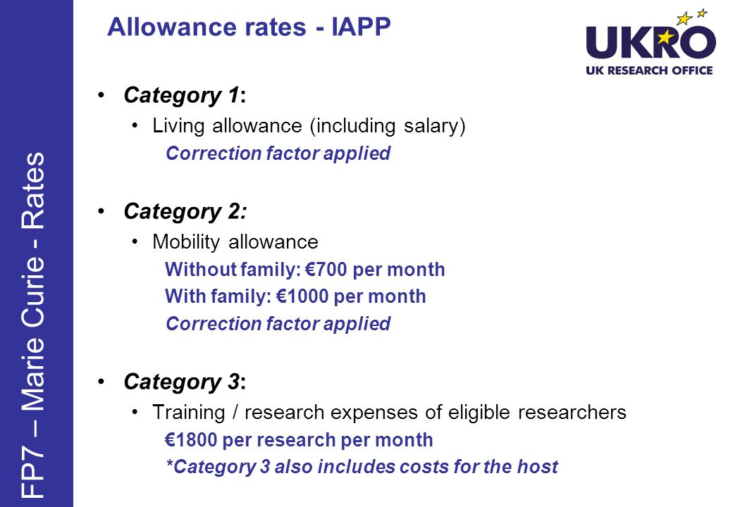 Category 1: Living allowance (including salary) Correction factor applied Category 2: Mobility allowance Without family: 700 per month With family: 10
