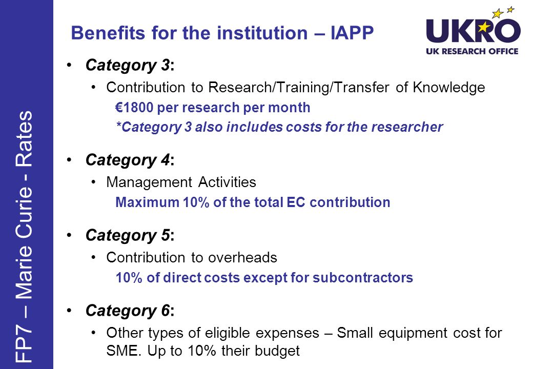 Benefits for the institution – IAPP Category 3: Contribution to Research/Training/Transfer of Knowledge 1800 per research per month *Category 3 also i