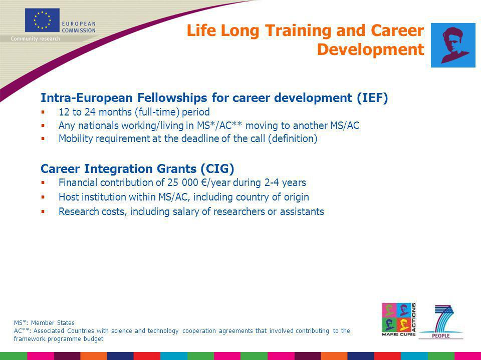 Life Long Training and Career Development Intra-European Fellowships for career development (IEF) 12 to 24 months (full-time) period Any nationals wor