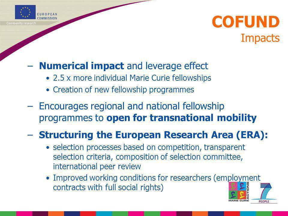 COFUND Impacts –Numerical impact and leverage effect 2.5 x more individual Marie Curie fellowships Creation of new fellowship programmes –Encourages r