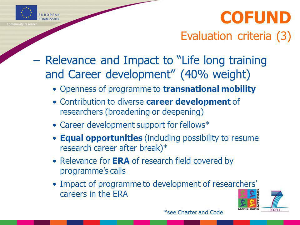 COFUND Evaluation criteria (3) –Relevance and Impact to Life long training and Career development (40% weight) Openness of programme to transnational