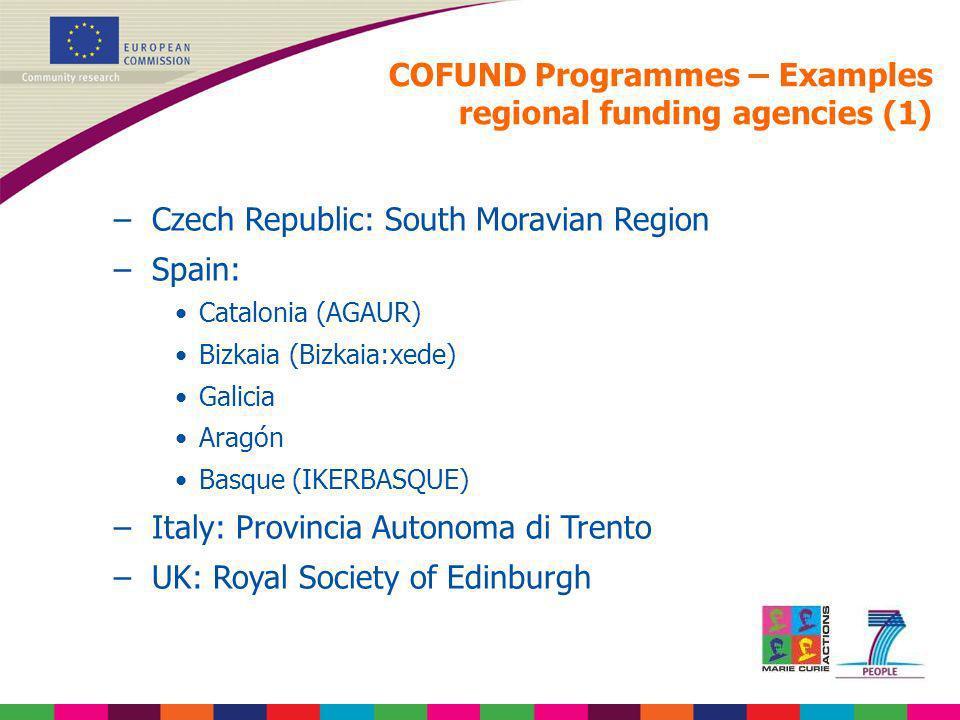 COFUND Programmes – Examples regional funding agencies (1) –Czech Republic: South Moravian Region –Spain: Catalonia (AGAUR) Bizkaia (Bizkaia:xede) Gal