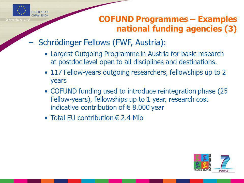 COFUND Programmes – Examples national funding agencies (3) –Schrödinger Fellows (FWF, Austria): Largest Outgoing Programme in Austria for basic resear