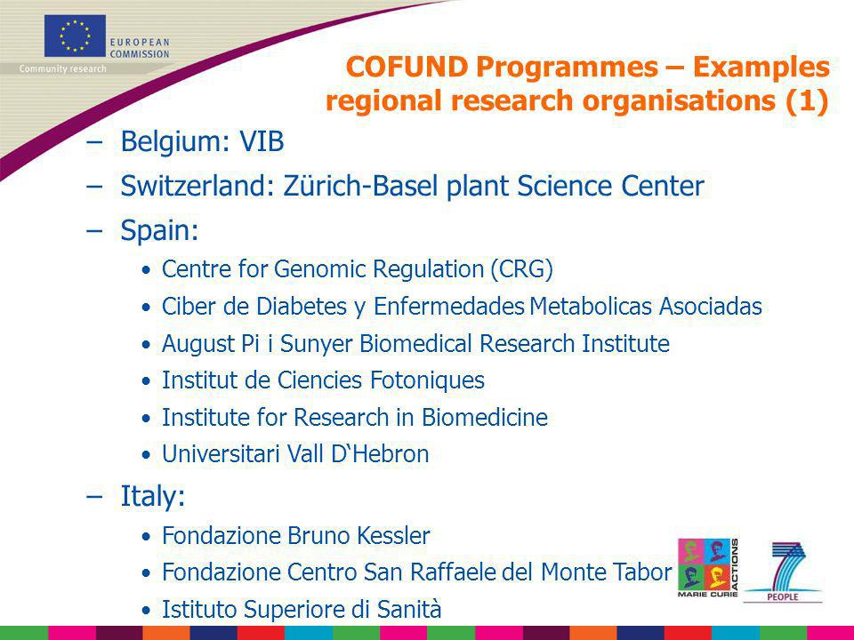 COFUND Programmes – Examples regional research organisations (1) –Belgium: VIB –Switzerland: Zürich-Basel plant Science Center –Spain: Centre for Geno