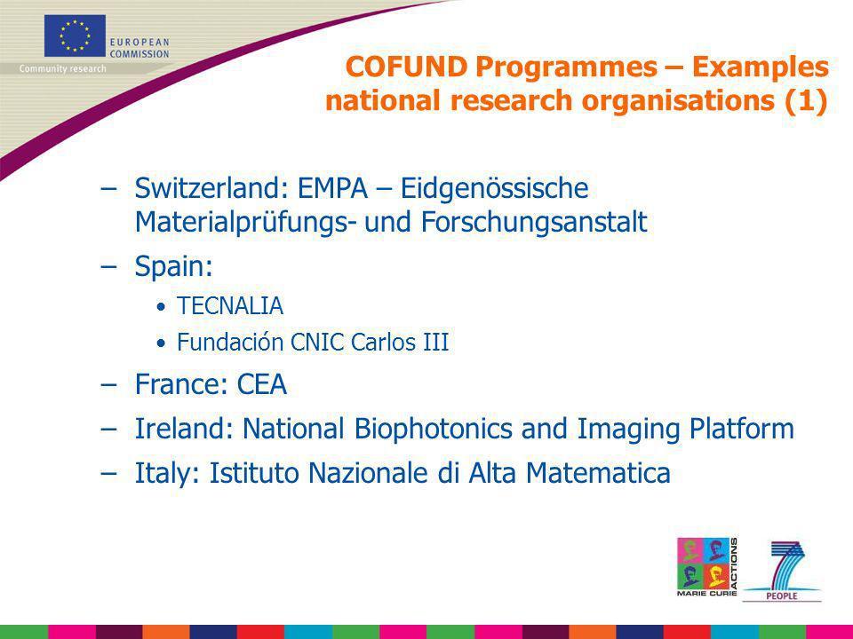 COFUND Programmes – Examples national research organisations (1) –Switzerland: EMPA – Eidgenössische Materialprüfungs- und Forschungsanstalt –Spain: T
