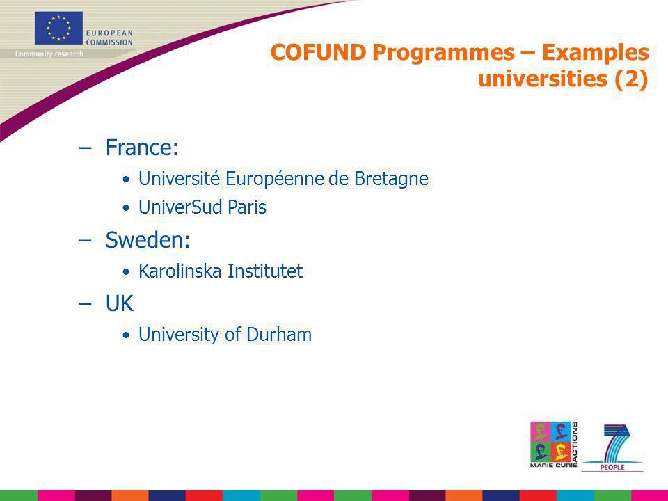 COFUND Programmes – Examples universities (2) –France: Université Européenne de Bretagne UniverSud Paris –Sweden: Karolinska Institutet –UK University