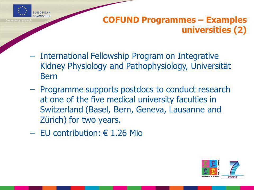 COFUND Programmes – Examples universities (2) –International Fellowship Program on Integrative Kidney Physiology and Pathophysiology, Universität Bern
