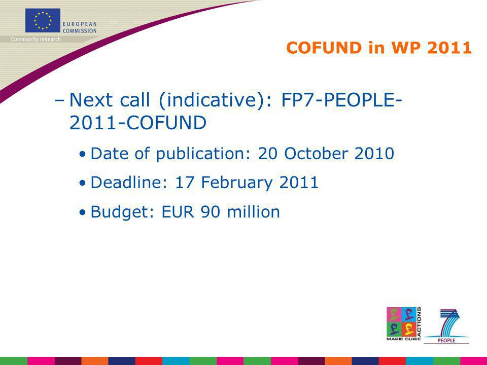 COFUND in WP 2011 –Next call (indicative): FP7-PEOPLE- 2011-COFUND Date of publication: 20 October 2010 Deadline: 17 February 2011 Budget: EUR 90 mill