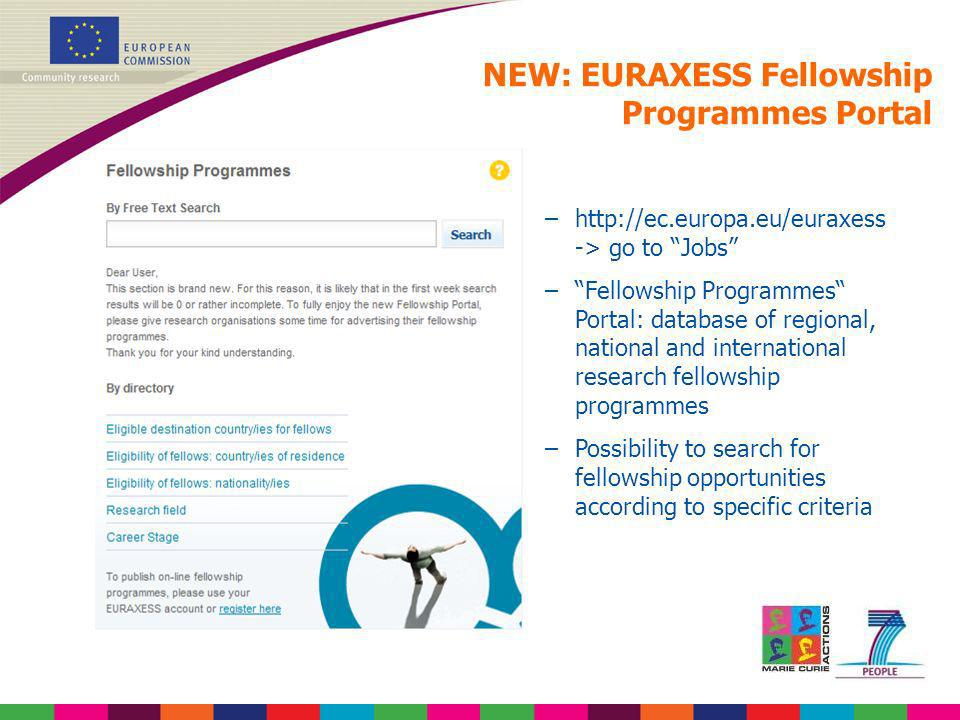 –http://ec.europa.eu/euraxess -> go to Jobs –Fellowship Programmes Portal: database of regional, national and international research fellowship progra