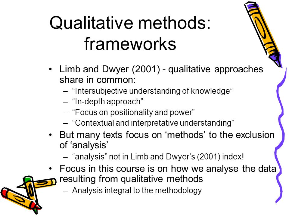 Qualitative methods: frameworks Limb and Dwyer (2001) - qualitative approaches share in common: –Intersubjective understanding of knowledge –In-depth approach –Focus on positionality and power –Contextual and interpretative understanding But many texts focus on methods to the exclusion of analysis –analysis not in Limb and Dwyers (2001) index.