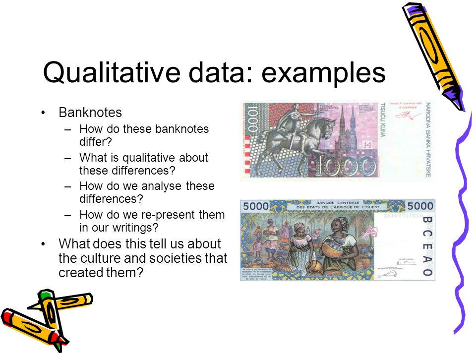 Qualitative data: examples Banknotes –How do these banknotes differ.